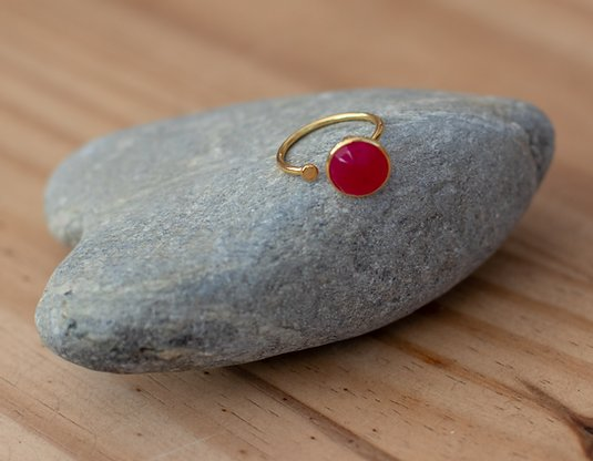 Gold Vermeil Ring with Disc in Pink Chalcedony
