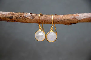 Gold Plated Hook Earrings in Rainbow Moonstone