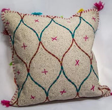 Load image into Gallery viewer, Grey/Pink Cross Cushion 507