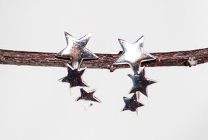 Silver Star Cuff Earrings