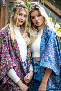 Long Pocket Kimono on the right (Blue)