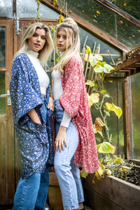 Long Pocket Kimono on the left (Blue)