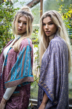 Load image into Gallery viewer, Long Pocket Kimono on the left (Cream, purple & blue)