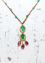 Load image into Gallery viewer, Gold Cotton Necklace with Green Onyx Stones and Pink Tormaline Detail
