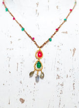 Load image into Gallery viewer, Gold Cotton Necklace with Pink Chalcedony, Green Onyx and Labradorite