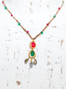 Gold Cotton Necklace with Pink Chalcedony, Green Onyx and Labradorite