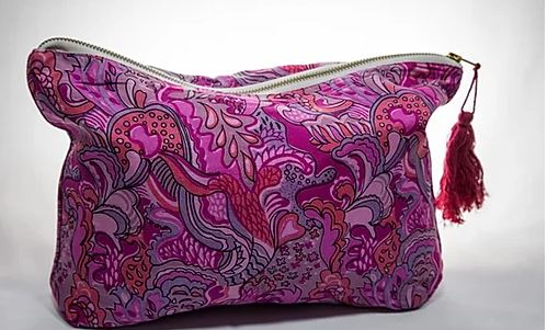 Handmade Recycled Silk Pouch in Pink/Purple