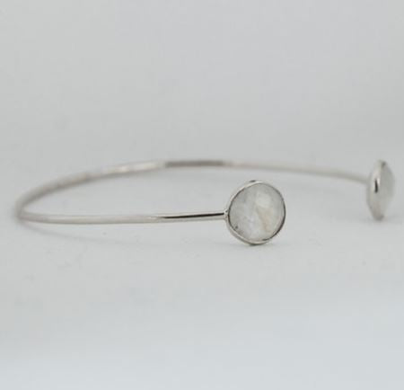 Sterling Silver Cuff Bracelet in Rainbow Moonstone