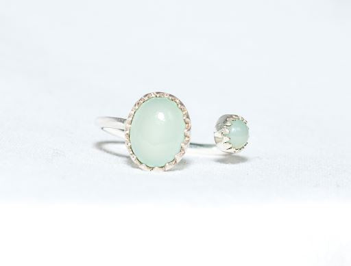 Sterling Silver Two Stone Ring in Aqua Chalcedony