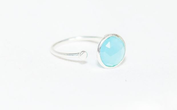 Sterling Silver Ring with Disc in Aqua Chalcedony