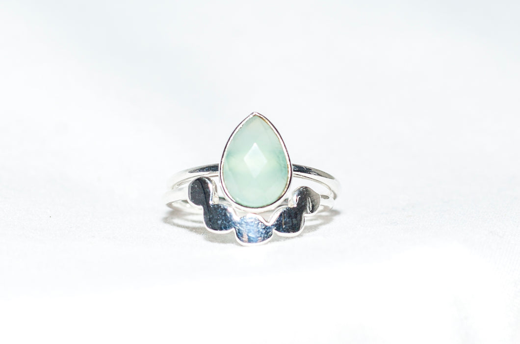 Sterling Silver Twin Ring in Aqua Chalcedony