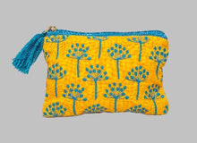 Load image into Gallery viewer, Mustard Thistle Linen Pouch