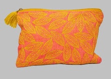 Load image into Gallery viewer, Pink Leaf Linen Pouch