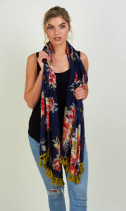 Navy Peony Scarf - Lime