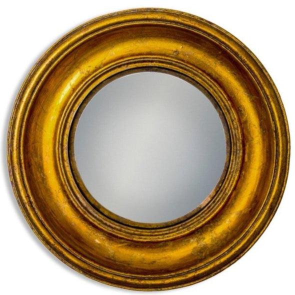 ANTIQUED GOLD DEEP FRAMED MEDIUM CONVEX MIRROR - EMPORIUM WORTHING
