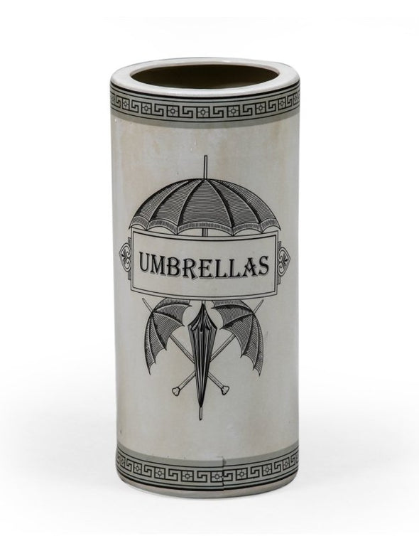 Antiqued White Ceramic Umbrella Stand - EMPORIUM WORTHING