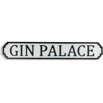 "ANTIQUED WOODEN ""GIN PALACE"" ROAD SIGN - EMPORIUM WORTHING"