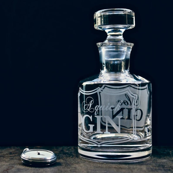 Beautiful Spirit Decanter Hand Etched 'A Quick Gin' - EMPORIUM WORTHING