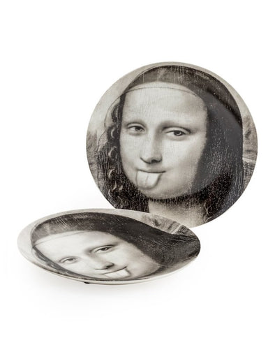 "Black and White Mona Lisa Face 10"" Ceramic Plates - Tongue - EMPORIUM WORTHING"