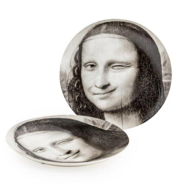 "BLACK AND WHITE MONA LISA FACE, WINK 10"" CERAMIC PLATES - EMPORIUM WORTHING"