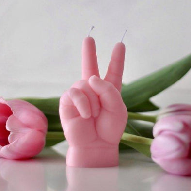 CandleHand Baby - Peace hand gesture Candle, Pink - EMPORIUM WORTHING