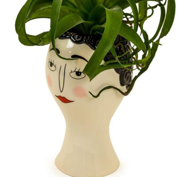CERAMIC DOODLE WOMAN'S FACE VASE - BLUSH - EMPORIUM WORTHING