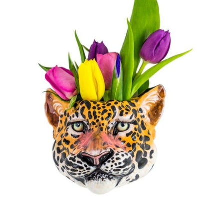 Ceramic Leopard Head Wall Sconce Vase - EMPORIUM WORTHING