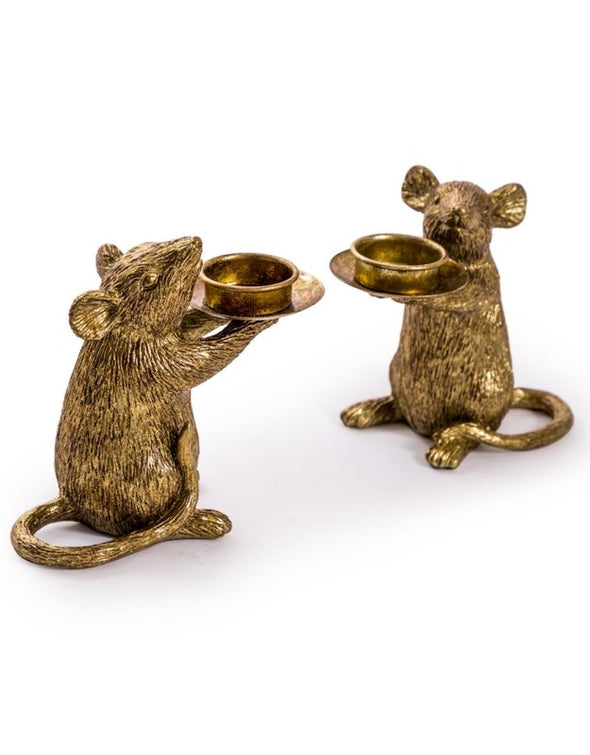 Cute Pair of Gold Mouse Candle Holders - EMPORIUM WORTHING