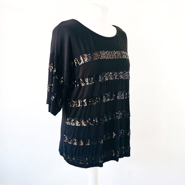 Fenn Wright Manson Black Sequinned Top - Size 12 - EMPORIUM WORTHING