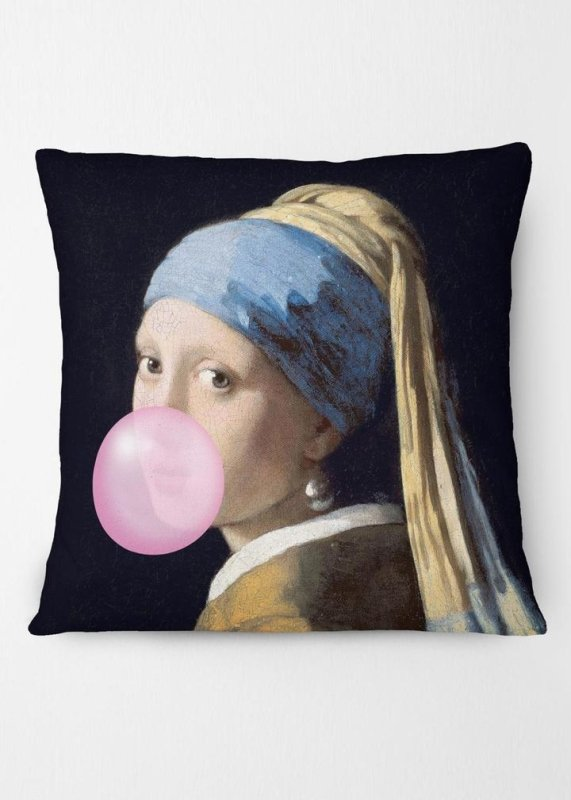 Girl Blowing Bubble Altered Art Cushion - EMPORIUM WORTHING