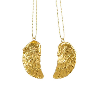 GOLDEN ANGEL WING HANGING DECORATIONS - SET OF 2 - EMPORIUM WORTHING