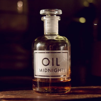 Gorgeous Etched Apothecary Glass Bottles : Midnight Oil - EMPORIUM WORTHING