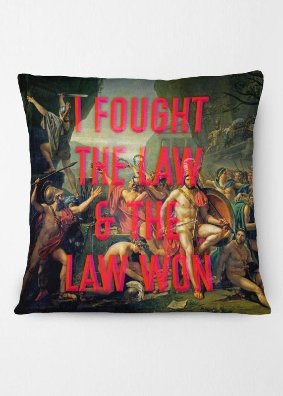 I Fought The Law Quote Neon Cushion - EMPORIUM WORTHING
