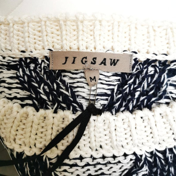 Jigsaw Blue and White Cotton Jumper - Size M - EMPORIUM WORTHING