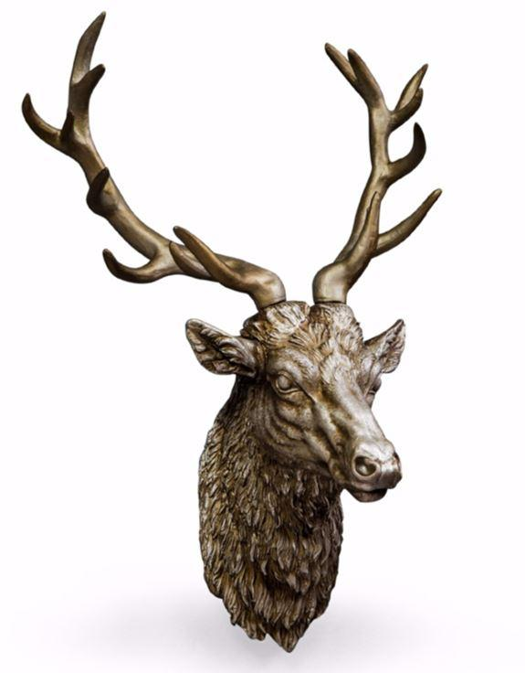 LARGE ANTIQUE SILVER STAG WALL HEAD - EMPORIUM WORTHING