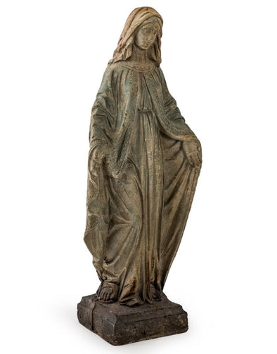 LARGE ANTIQUED STONE EFFECT MADONNA FIGURE - EMPORIUM WORTHING