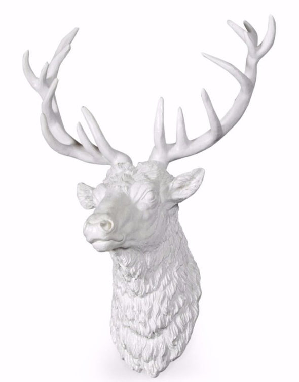 Large Bright White Stag Wall Head - EMPORIUM WORTHING