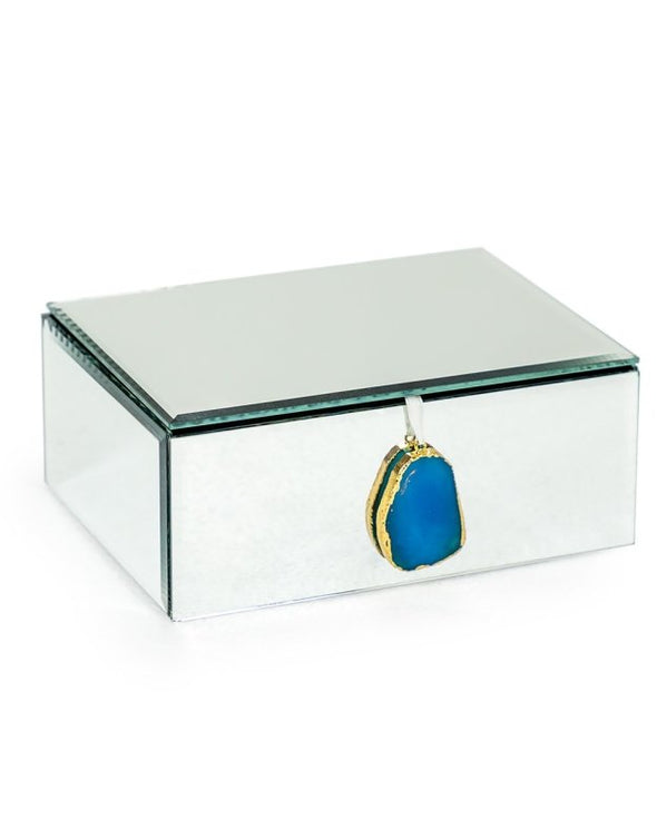 LARGE MIRRORED JEWELLERY BOX WITH BLUE AGATE HANDLE - EMPORIUM WORTHING