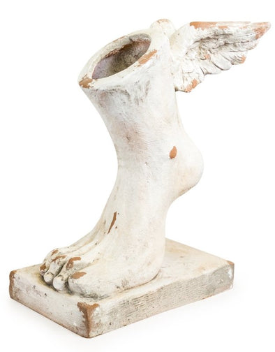 Large Rustic Stone Effect Winged Foot Planter - EMPORIUM WORTHING