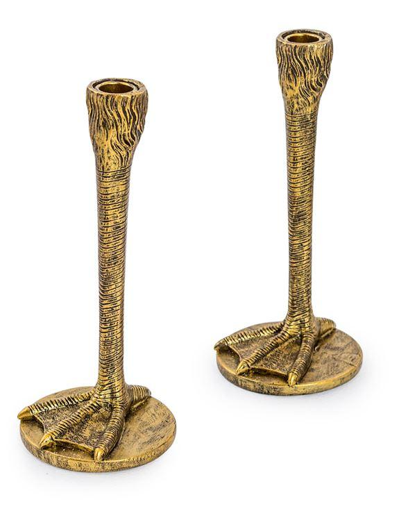 PAIR OF ANTIQUE GOLD BIRD LEG CANDLESTICKS - EMPORIUM WORTHING