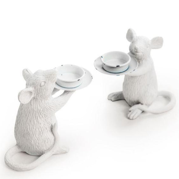 PAIR OF WHITE MOUSE CANDLE HOLDERS - EMPORIUM WORTHING