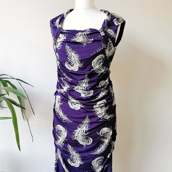 Phase Eight, Purple and White Feather Fitted Dress with Ruched Waist, Size 14 - EMPORIUM WORTHING