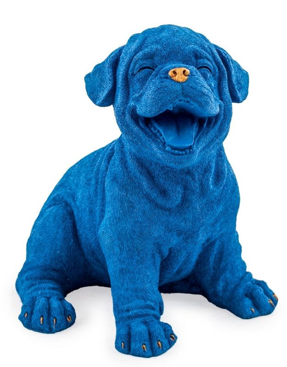 Royal Blue Laughing Puppy with Gold Detail Figure - EMPORIUM WORTHING