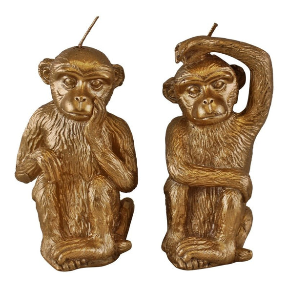 Set of 2 Gold Monkey Candles - EMPORIUM WORTHING