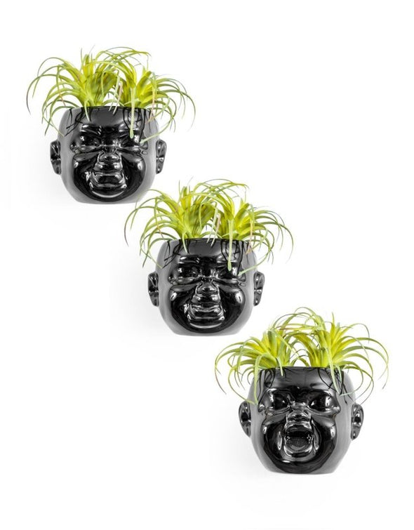 Set of 3 Black Plated Ceramic Mini Baby Face Pots - EMPORIUM WORTHING