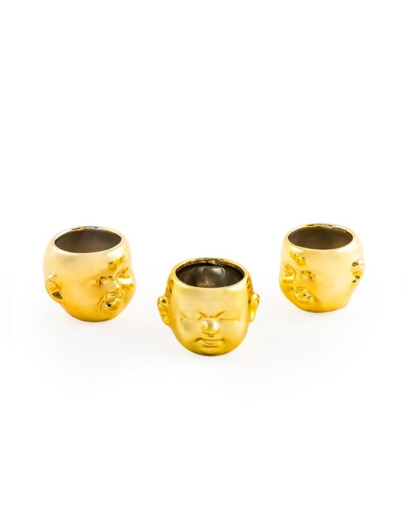 Set of 3 Gold Plated Ceramic Mini Baby Face Pots - EMPORIUM WORTHING
