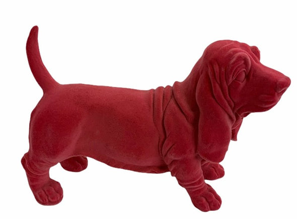 Shocking Pink Flock Basset Dog Ornament - EMPORIUM WORTHING