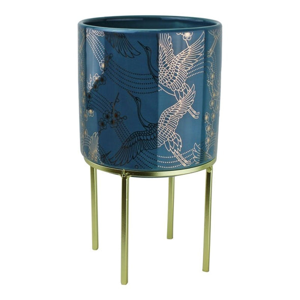 Small Eastern Planter With Stand Featuring Cranes Design - EMPORIUM WORTHING