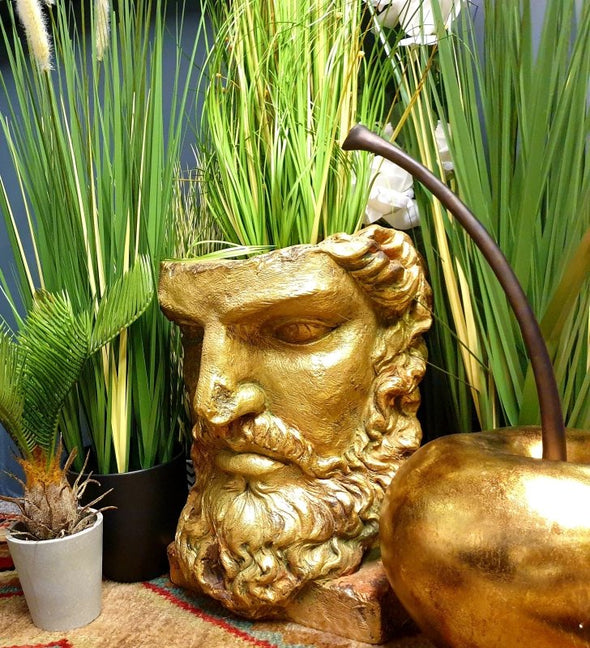 Tall Antiqued Gold Classical Face Planter - EMPORIUM WORTHING