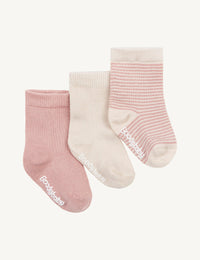 Baby Socks - 3 Pack Chalk Rose Stripe - Boody Baby